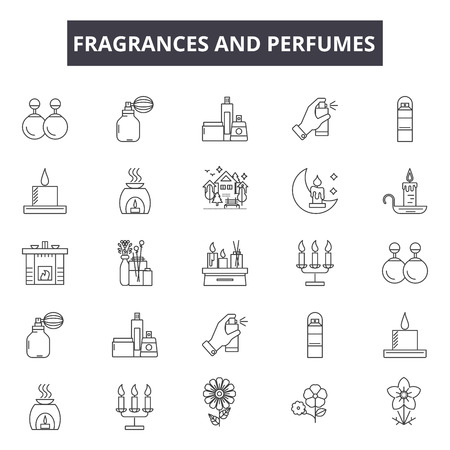 Fragrances and perfumes line icons for web and mobile. Editable stroke signs. Fragrances and perfumes  outline concept illustrations Ilustrace