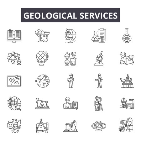 Geological services line icons for web and mobile. Editable stroke signs. Geological services  outline concept illustrations Ilustração