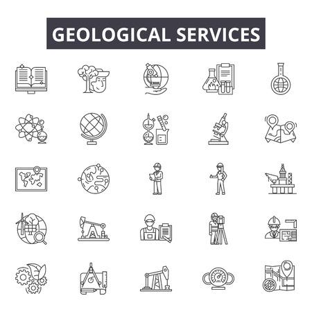 Iconos de línea de servicios geológicos para web y móvil. Signos de trazo editables. Ilustraciones del concepto de esquema de servicios geológicos