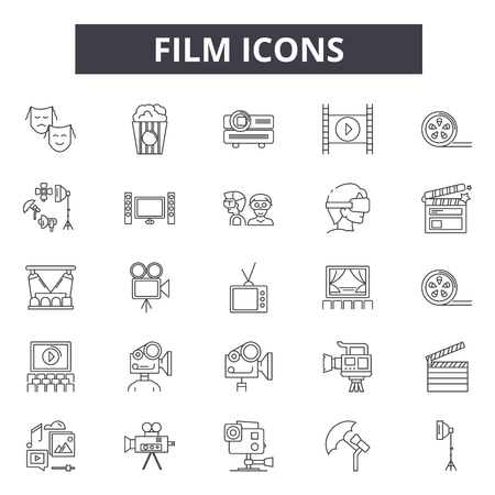 Film line icons for web and mobile. Editable stroke signs. Film  outline concept illustrations Stock Vector - 119388423