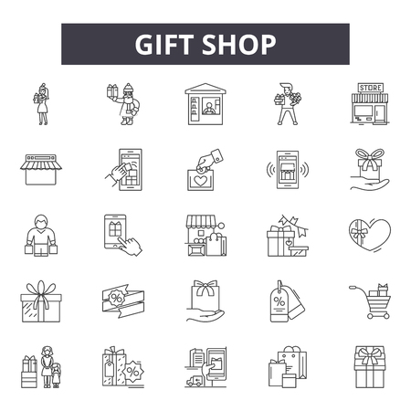Gift shop line icons for web and mobile. Editable stroke signs. Gift shop  outline concept illustrations