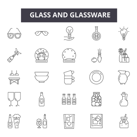 Glass and glassware line icons for web and mobile. Editable stroke signs. Glass and glassware  outline concept illustrations