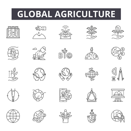 Global agriculture line icons for web and mobile. Editable stroke signs. Global agriculture  outline concept illustrations