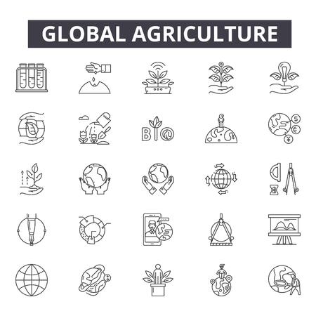 Globale Landwirtschaftsliniensymbole für Web und Mobile. Bearbeitbare Strichzeichen. Illustrationen zum Konzept der globalen Landwirtschaft Vektorgrafik