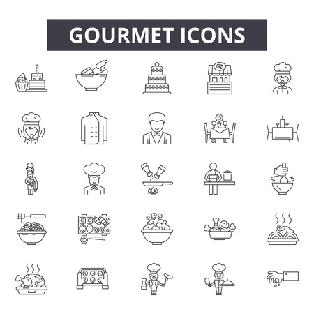 Gourmet line icons for web and mobile. Editable stroke signs. Gourmet  outline concept illustrations Illustration