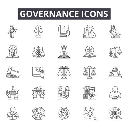 Icônes de ligne de gouvernance pour le web et le mobile. Signes de course modifiables. Illustrations de concept de contour de gouvernance