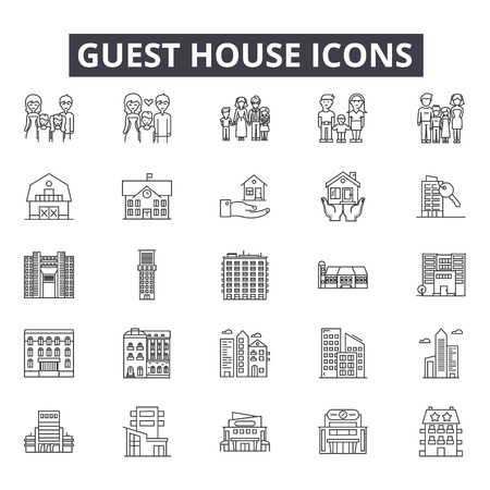 Guest house line icons for web and mobile. Editable stroke signs. Guest house  outline concept illustrations Illustration