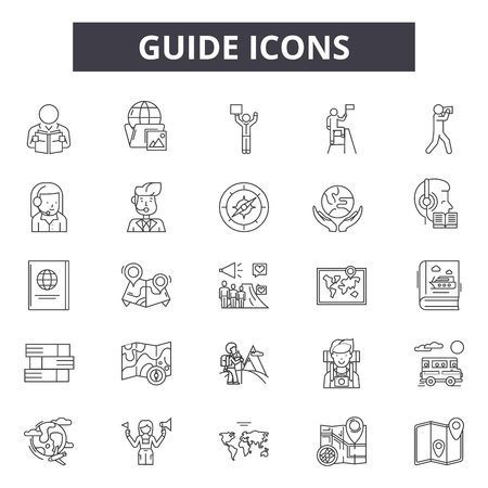 Guide line icons for web and mobile. Editable stroke signs. Guide  outline concept illustrations