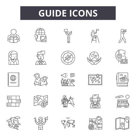 Iconos de línea de guía para web y móvil. Signos de trazo editables. Ilustraciones del concepto de esquema de guía