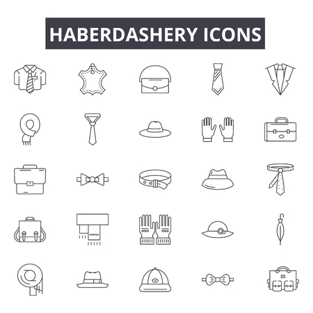 Haberdashery line icons for web and mobile. Editable stroke signs. Haberdashery  outline concept illustrations Stock Illustratie