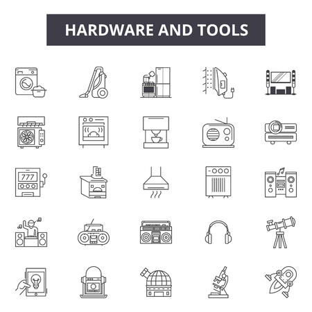 Hardware and tools line icons for web and mobile. Editable stroke signs. Hardware and tools  outline concept illustrations Illustration