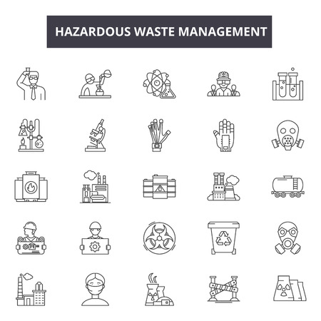 Hazardous waste management line icons for web and mobile. Editable stroke signs. Hazardous waste management  outline concept illustrations