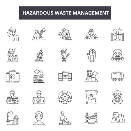 Symbole für die Entsorgung gefährlicher Abfälle für Web und Mobile. Bearbeitbare Strichzeichen. Illustrationen zum Konzept der Entsorgung gefährlicher Abfälle