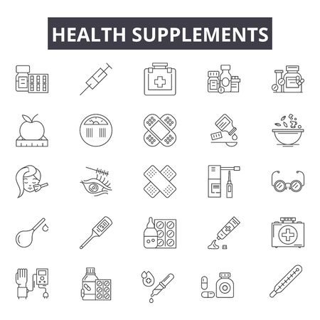 Health supplements line icons for web and mobile. Editable stroke signs. Health supplements  outline concept illustrations Иллюстрация