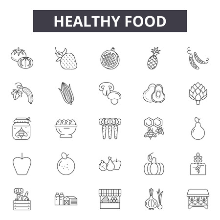 Healthy food line icons for web and mobile. Editable stroke signs. Healthy food  outline concept illustrations Иллюстрация