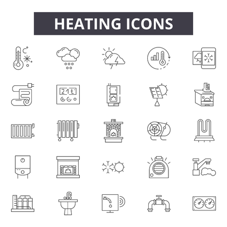 Heizleitungssymbole für Web und Mobile. Bearbeitbare Strichzeichen. Illustrationen zum Heizkonzept