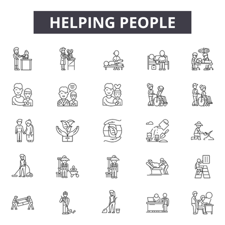 Helping people line icons for web and mobile. Editable stroke signs. Helping people  outline concept illustrations 일러스트