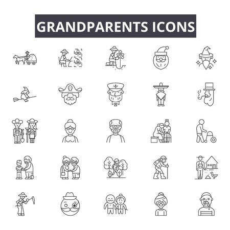 Grandparents line icons for web and mobile. Editable stroke signs. Grandparents  outline concept illustrations