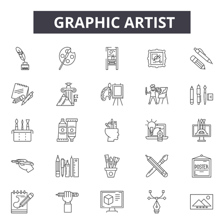 Graphic artist line icons for web and mobile. Editable stroke signs. Graphic artist  outline concept illustrations