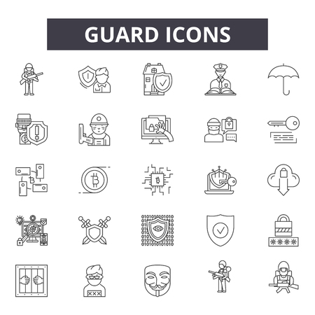 Guard line icons for web and mobile. Editable stroke signs. Guard  outline concept illustrations
