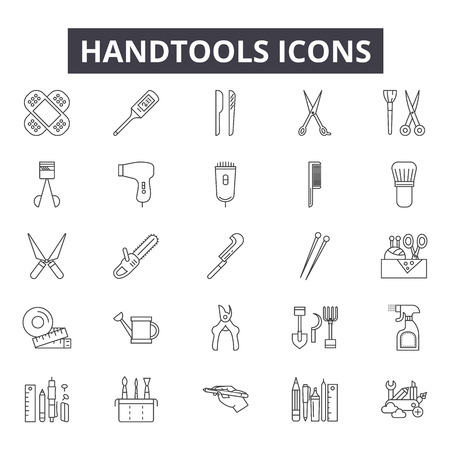 Handtools line icons for web and mobile. Editable stroke signs. Handtools  outline concept illustrations