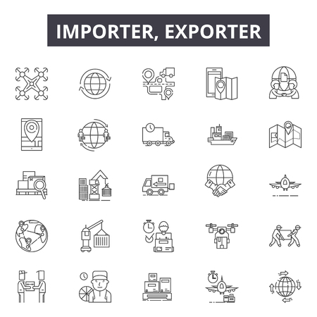 Importer exporter line icons for web and mobile. Editable stroke signs. Importer exporter  outline concept illustrations Archivio Fotografico - 119235899
