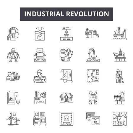 Ikony linii rewolucji przemysłowej dla sieci web i mobile. Edytowalne znaki obrysu. Ilustracje koncepcji zarysu rewolucji przemysłowej