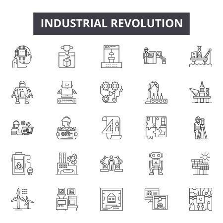 Industriële revolutie lijn iconen voor web en mobiel. Bewerkbare lijntekens. Industriële revolutie schets concept illustraties