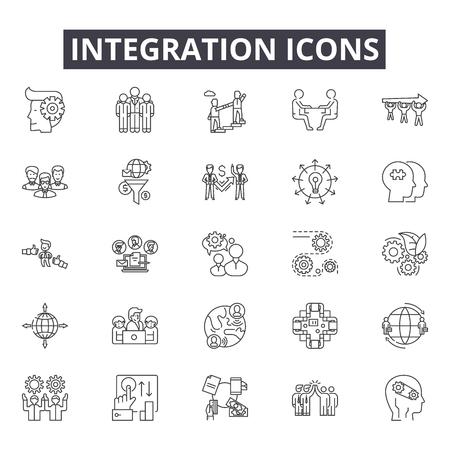 Ikony linii integracji dla sieci web i mobile. Edytowalne znaki obrysu. Ilustracje koncepcji zarysu integracji Ilustracje wektorowe