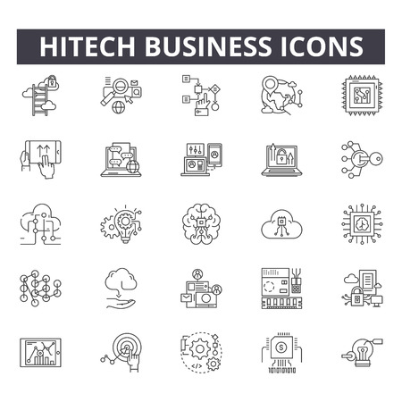 Hitech business line icons for web and mobile. Editable stroke signs. Hitech business  outline concept illustrations