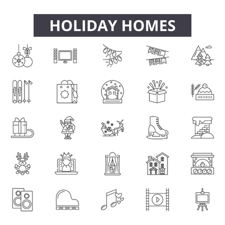Holiday homes line icons for web and mobile. Editable stroke signs. Holiday homes  outline concept illustrations Illustration