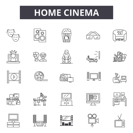 Home cinema line icons for web and mobile. Editable stroke signs. Home cinema  outline concept illustrations
