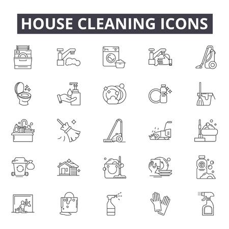 Icônes de ligne de nettoyage de maison pour le web et le mobile. Signes de course modifiables. Illustrations de concept de contour de nettoyage de maison