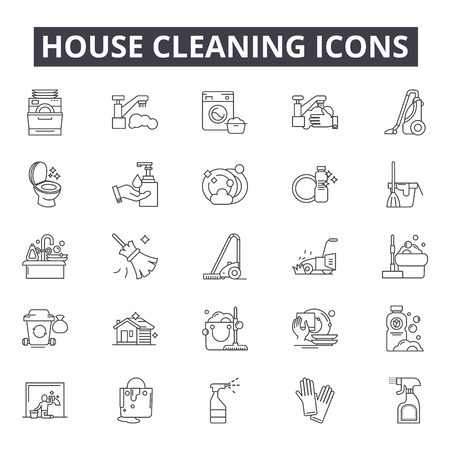 Iconos de línea de limpieza de casa para web y móvil. Signos de trazo editables. Ilustraciones de concepto de esquema de limpieza de casa