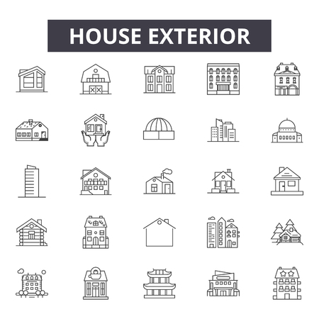 House exterior line icons for web and mobile. Editable stroke signs. House exterior  outline concept illustrations
