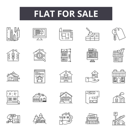 House for sale line icons for web and mobile. Editable stroke signs. House for sale  outline concept illustrations Stockfoto - 119235785