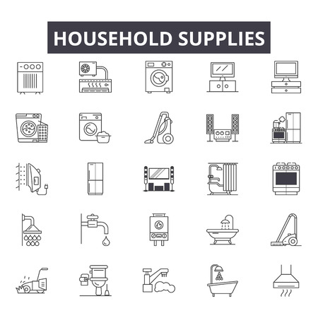 Household supplies line icons for web and mobile. Editable stroke signs. Household supplies outline concept illustrations