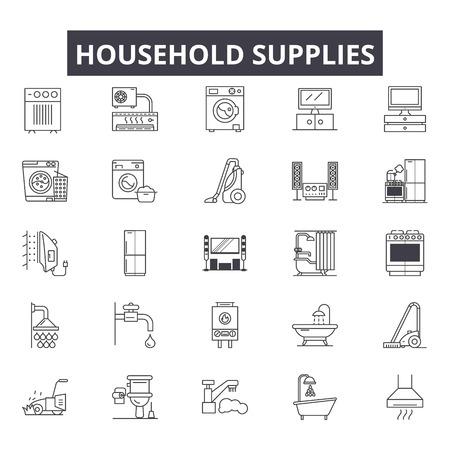 Huishoudelijke benodigdheden lijn iconen voor web en mobiel. Bewerkbare lijntekens. Huishoudelijke benodigdheden schetsen concept illustraties