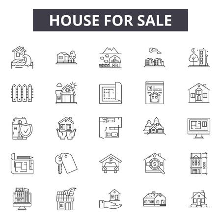 Haus zum Verkauf Liniensymbole für Web- und Mobile-Design. Bearbeitbare Strichzeichen. Haus zum Verkauf Umrisskonzept Illustrationen Vektorgrafik
