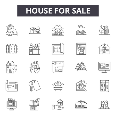 House for sale line icons for web and mobile design. Editable stroke signs. House for sale outline concept illustrations Stockfoto - 119235795