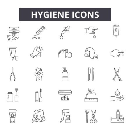 Hygiene line icons for web and mobile. Editable stroke signs. Hygiene  outline concept illustrations Ilustração