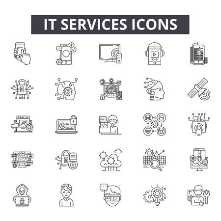 Servicios de iconos de línea para web y móvil. Signos de trazo editables. Servicios de TI ilustraciones del concepto de esquema Ilustración de vector