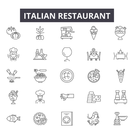 Italian restaurant line icons for web and mobile. Editable stroke signs. Italian restaurant outline concept illustrations