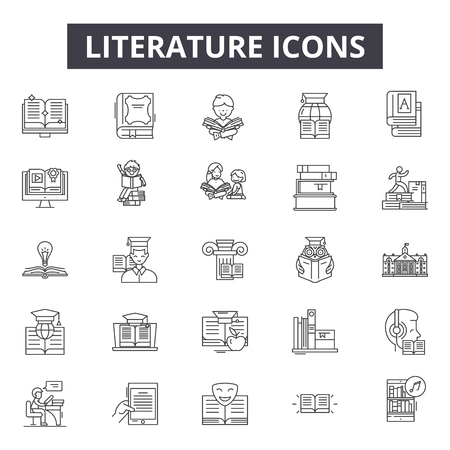 Iconos de línea de literatura para web y móvil. Signos de trazo editables. Ilustraciones del concepto de esquema de literatura Ilustración de vector