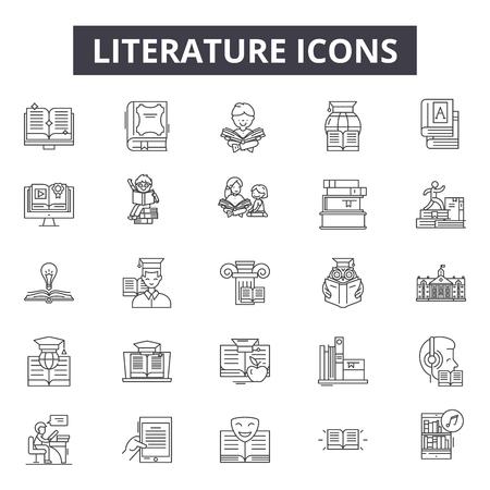 Ikony linii literatury dla sieci web i mobile. Edytowalne znaki obrysu. Ilustracje koncepcji zarysu literatury Ilustracje wektorowe