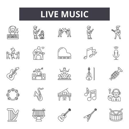 Live music line icons for web and mobile. Editable stroke signs. Live music outline concept illustrations Vector Illustration