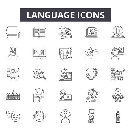 Language line icons for web and mobile. Editable stroke signs. Language  outline concept illustrations Archivio Fotografico - 119235620