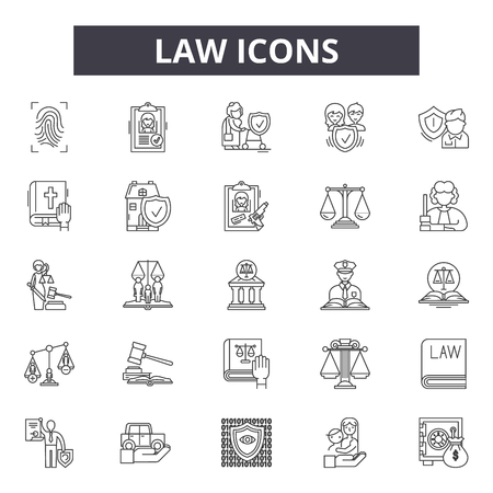 Law icon line icons for web and mobile. Editable stroke signs. Law icon  outline concept illustrations