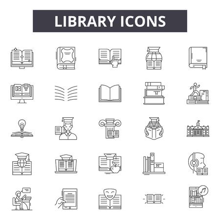 Iconos de línea de biblioteca para web y móvil. Signos de trazo editables. Ilustraciones del concepto de esquema de biblioteca