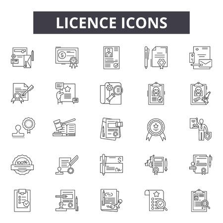 Ikony linii licencji dla sieci web i mobile. Edytowalne znaki obrysu. Ilustracje koncepcji zarysu licencji Ilustracje wektorowe